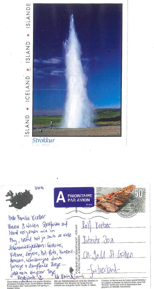 Grüsse von Karin & Lars aus Island