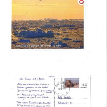 Karin & Lars grüssen aus Ilulissat (Grönland)