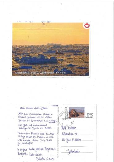 Karin <span class=&quot;amp&quot;>&amp;</span> Lars grüssen aus Ilulissat (Grönland)